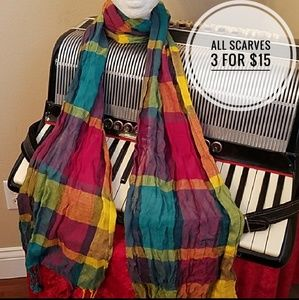 Accessories - BEAUTIFUL BRIGHT COLORED PLAID SCARF